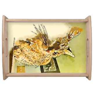 Kitty Whiskers Heart Nose Watercolor Serving Tray