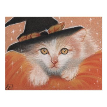 Halloween Themed Kitty Witch Postcard