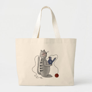 kitty with bird canvas bags