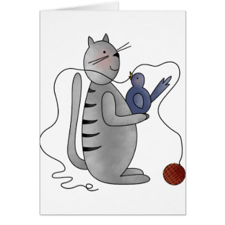 kitty with bird greeting cards