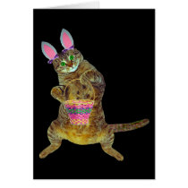 Kitty with Easter basket Card