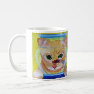 Kitty with Fish Coffe Mug