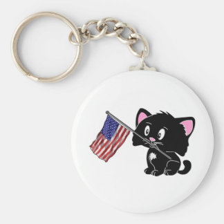 Kitty with Flag Keychain