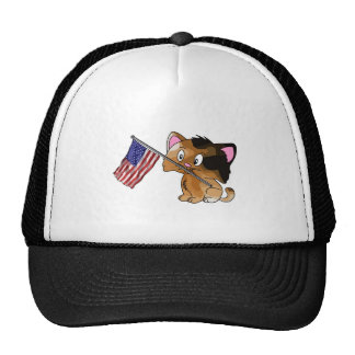 Kitty with Flag Mesh Hats