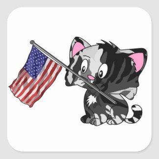 Kitty with Flag Square Sticker