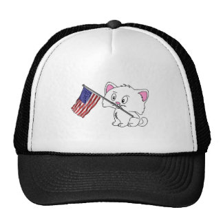 Kitty with Flag Trucker Hat