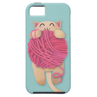 Kitty with huge yarnball iPhone SE/5/5s case
