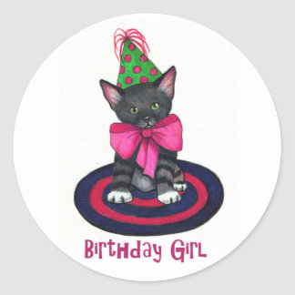 Kitty With Pink Bow Birthday Girl Color Pencil Round Sticker