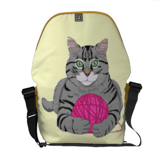 Kitty with Yarn Messenger Bag