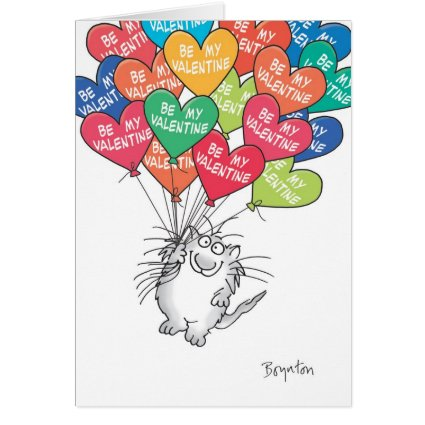 KITTY WTH HEART BALLOONS Valentines by Boynton Greeting Cards