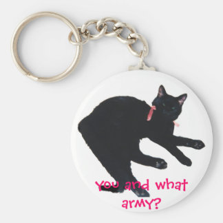 kittycat, you and what army? basic round button keychain