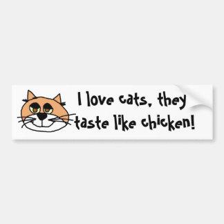 ¡kittykat, amo gatos, ellos pruebo como pollo! pegatina para auto