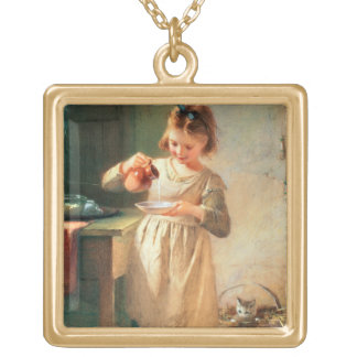 Kitty's Breakfast Gold Plated Necklace