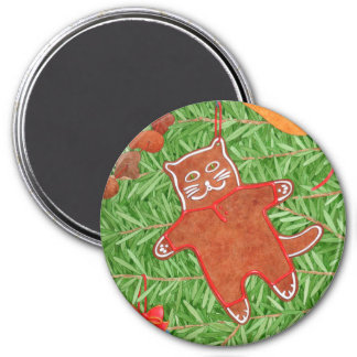 Kitty's Christmas Tree Round Magnet