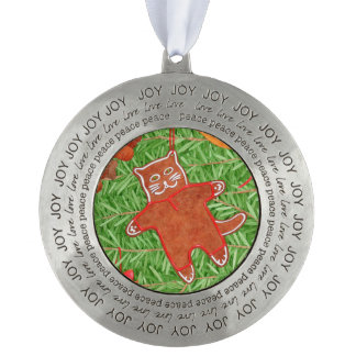 Kitty's Christmas Tree Round Pewter Ornament