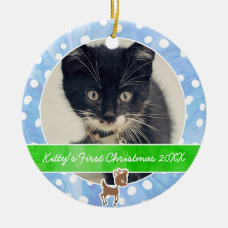 Kitty's First Christmas Rudolph Ceramic Ornament