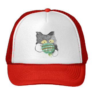Kitty's Rolly Polly Christmas Ornament Trucker Hat