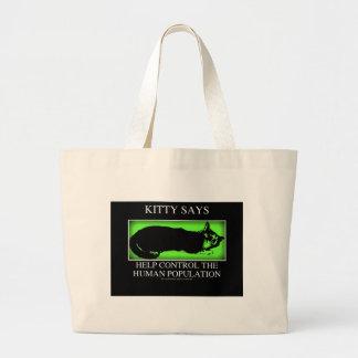 kittysaysgreen large tote bag