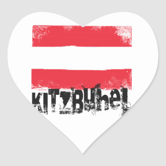 Kitzbühel Grunge Flag Heart Sticker