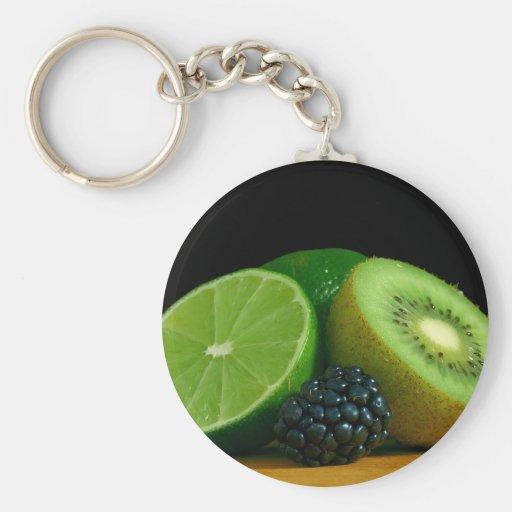Kiwi and lime basic round button keychain