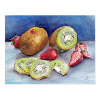 Kiwi and strawberries Postcard