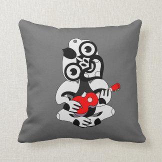 KIWI  Aotearoa Hei Tiki with green ukulele Throw Pillow