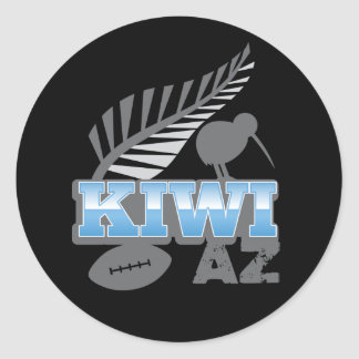 KIWI AZ rugby bird and silver fern New Zealand Classic Round Sticker