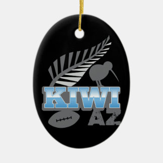 KIWI AZ rugby bird and silver fern New Zealand Double-Sided Oval Ceramic Christmas Ornament