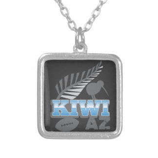 KIWI AZ rugby bird and silver fern New Zealand Silver Plated Necklace