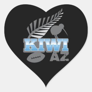 KIWI AZ rugby bird and silver fern New Zealand Heart Stickers