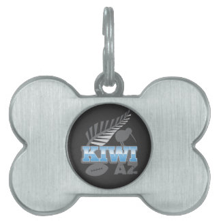 KIWI AZ rugby bird and silver fern Pet Name Tag