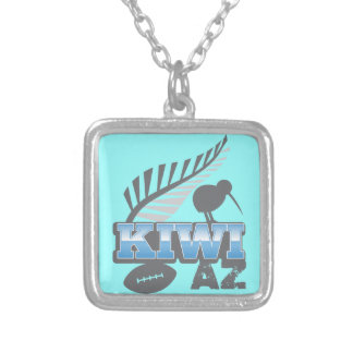 KIWI AZ rugby bird and silver fern Silver Plated Necklace