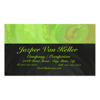 Kiwi Bash Green and Black Monogram Business Card