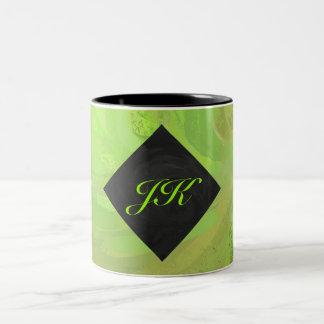 Kiwi Bash Green and Black Monogram Two-Tone Coffee Mug