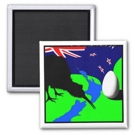 Kiwi Bird, Egg & New Zealand Map (drawing)