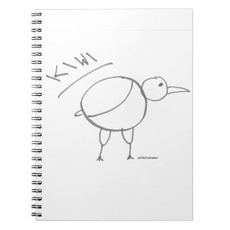 kiwi bird hand drawn design by solidchainwear notebook