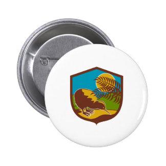 Kiwi Bird Moon Fern Mountain Shield Retro 2 Inch Round Button
