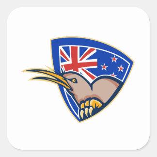 Kiwi Bird New Zealand Flag Shield Retro Square Sticker