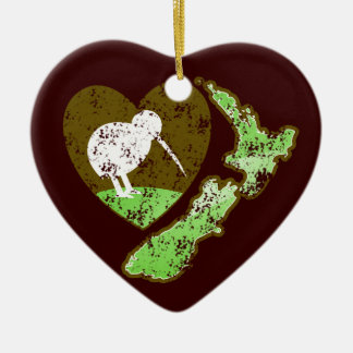 Kiwi bird NEW ZEALAND with a love heart Double-Sided Heart Ceramic Christmas Ornament