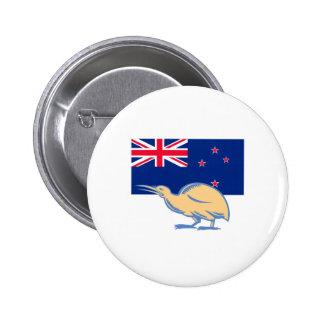Kiwi Bird NZ Flag Woodcut 2 Inch Round Button