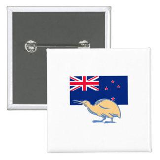Kiwi Bird NZ Flag Woodcut 2 Inch Square Button