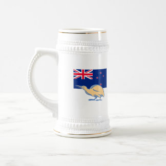 Kiwi Bird NZ Flag Woodcut Beer Stein
