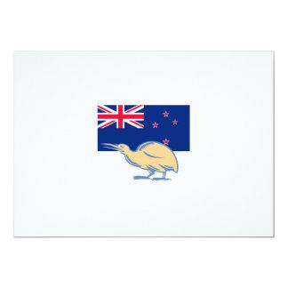 Kiwi Bird NZ Flag Woodcut Card