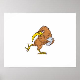Kiwi Bird Running Rugby Ball Drawing Poster