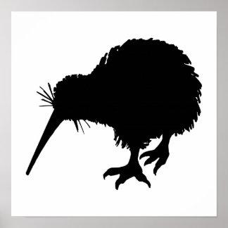 Kiwi Bird Silhouette Poster