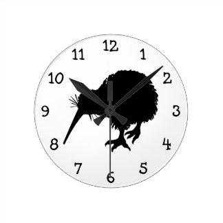 Kiwi Bird Silhouette Round Clock