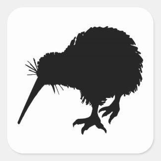 Kiwi Bird Silhouette Square Sticker