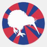 Kiwi blanco pegatina redonda