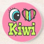 Kiwi brillante del amor del corazón I del ojo Posavasos Para Bebidas