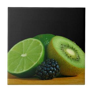 Kiwi, cal y Blackberry Azulejo Cuadrado Pequeño